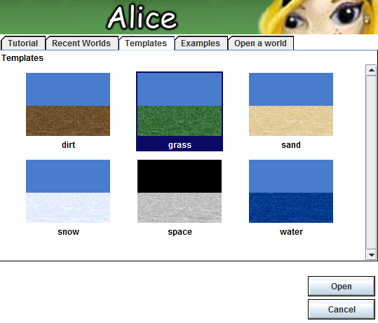 Giao diện chọn nền của Alice