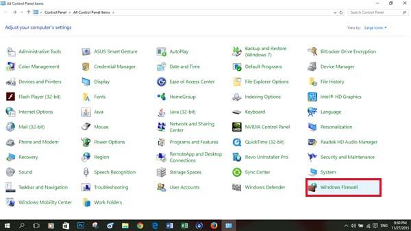 Từ giao diện control pannel chọn Windows Firewall