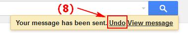 Thông báo Undo được hiển thị sau khi bấm gửi