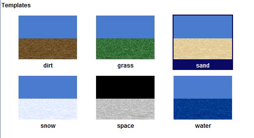 Chọn nên Sand từ màn hình Template