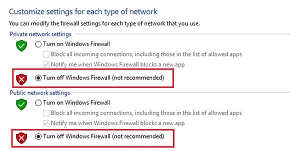 turnoff firewall