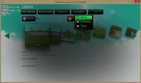 Giao diện sắp xếp game trong ứng dụng của bạn