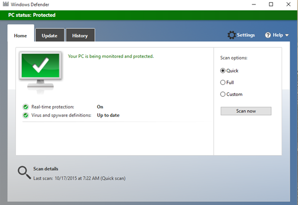Windows 10 được Microsofr tích hợp sẳn Windows Defender