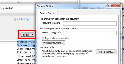 Đặt mật khẩu cho văn bản