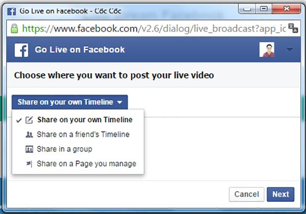 Ứng dụng hiện tại hỗ trợ live trên trang cá nhân, nhóm cộng đồng hoặc fanpage.
