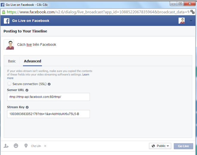 Cửa sổ Go Live sẽ bật lên, người dùng vào thẻ Advanced để lấy đường link và mã khóa.