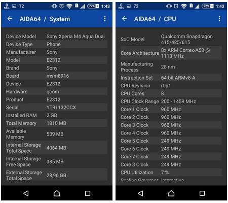 Thông tin chi tiết về cấu hình trên smartphone được Aida64 liệt kê
