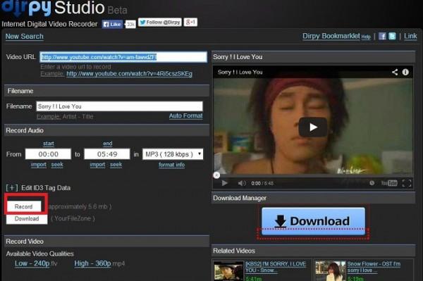 Bấm chọn chất lượng file nhạc và bấm DOWNLOAD để tải về máy