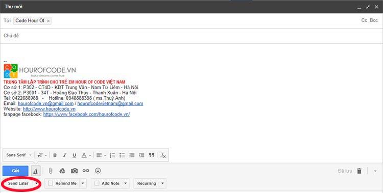 Hẹn giờ gửi email   Hour Of Code Vietnam
