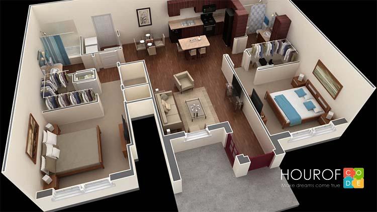 Một bản thiết kế được thực hiện từ Sweethome 3D
